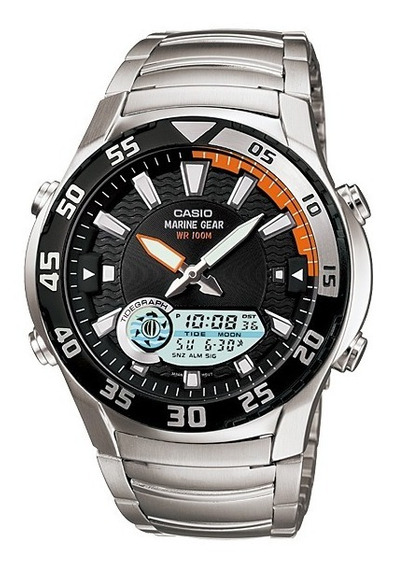 Relogio Casio Amw 710 Luas Mares Pesca Alarme Aço Amw710 Wr