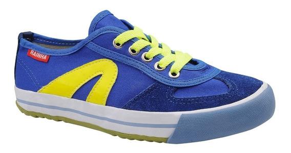 Tênis Rainha Volei Futsal Vl 2500 Azul Royal Com Amarelo