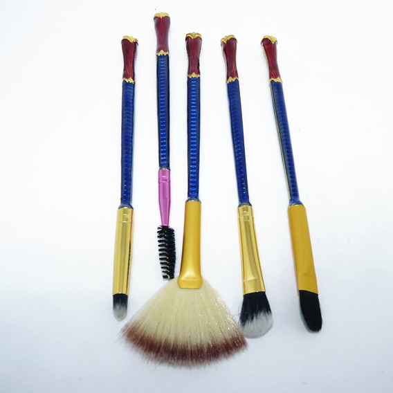 Pincel Maquiagem Mulher Maravilha Kit Com 5