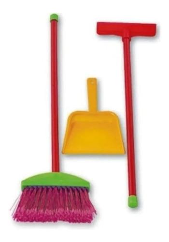 Imagen 1 de 2 de  Set De Limpieza Escoba Pala Secador Juguete Plastico