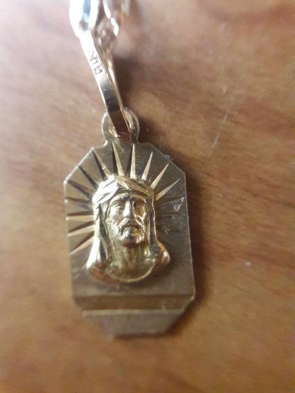 Cadena Y Medalla Bautizo Oro 14k Cristo 3 Oros Espejo 3 Años