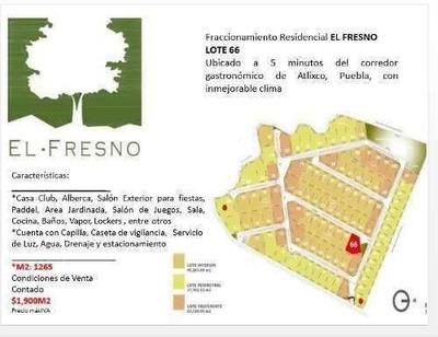 Terreno En Venta En Fracc. El Fresno En Atlixco