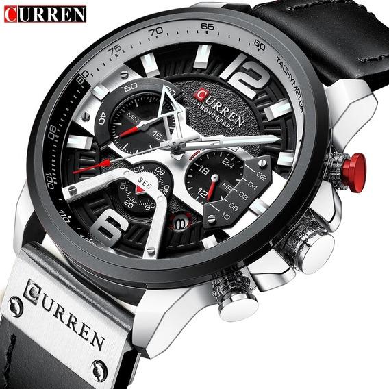 Relógio Masculino Curren Funcional Couro Original Barato