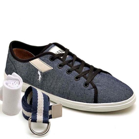 Sapatenis Kit Cinto E Meia Polo Blu 100 Sapato Barato