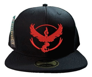 Boné Aba Reta Snapback Bordado Pokemon Go Team Valor