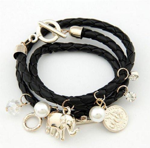 Pulseira Bracelete Elefante Feminina - Couro Preto