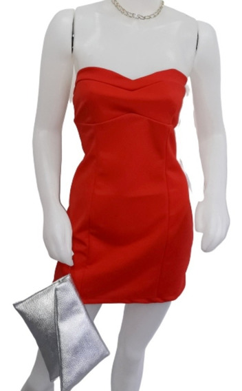 Vestido Strapless Crepe Rojo T. Unico * Baronia Indumentaria