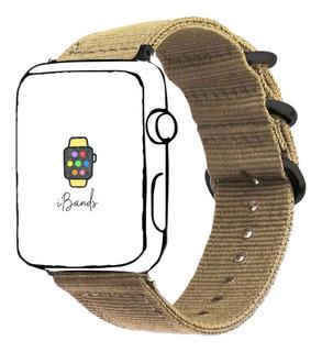 Pulseira Nylon Caqui Rustico Para Apple Watch 42mm 44mm