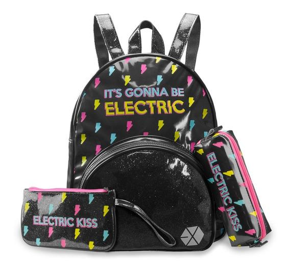 Conjunto Mini-mochila + Carteirinha + Estojo Exo - Electric