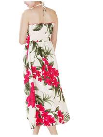 Vestido Polinesico Beige Con Tipanie Fucsia
