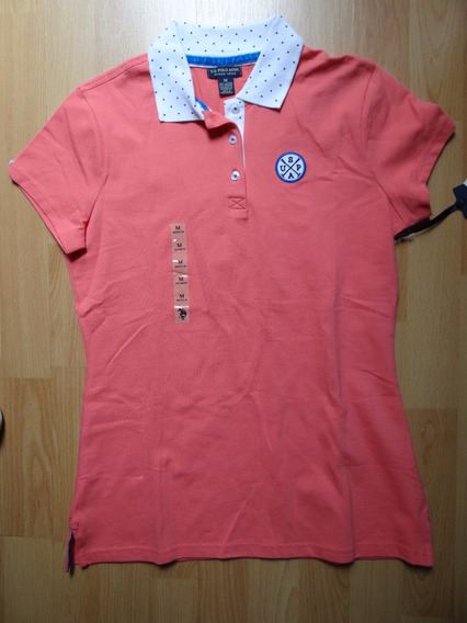 Playera Us Polo Assn Salmon Con Blanco Cuello Con Bolas
