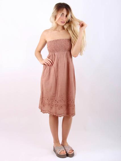 Vestido+pollera Puro Algodón Importado Informal Bordado 4413