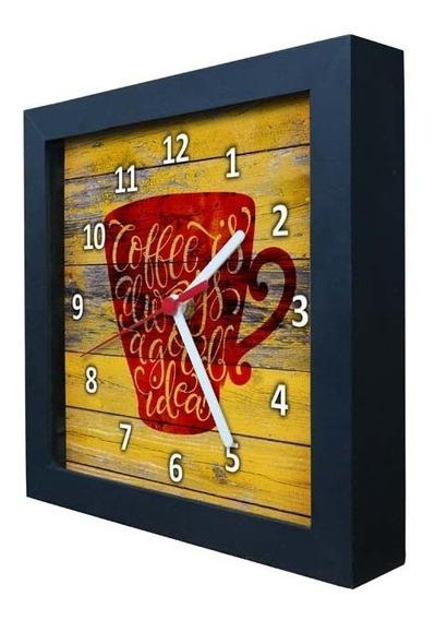 Relógio Decorativo Caixa Alta Tema Café - Qw008