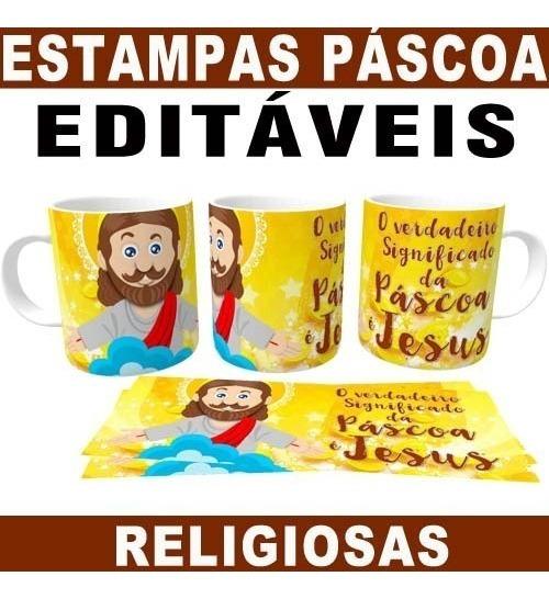 Canecas Páscoa Estampas Religiosas Jesus Editáveis