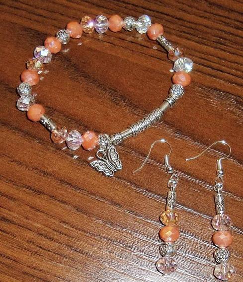 Bracelete Com Cristais Prata Tibetana + Par De Brincos