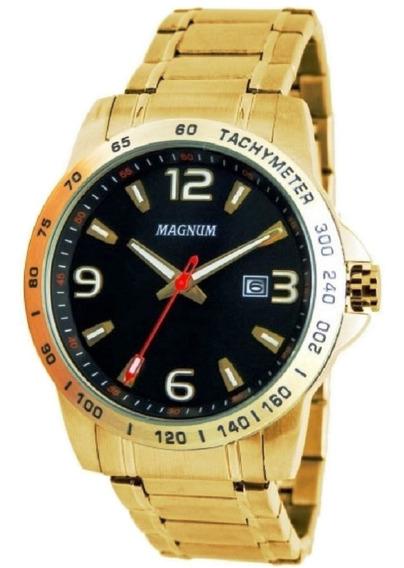 Relógio Magnum Masculino Calendário Pulseira Ouro Ma32961u