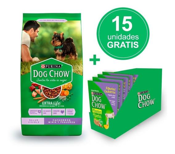Dog Chow Cachorros Minis Y Peque 21kg + Alimento Húmedo Gratis