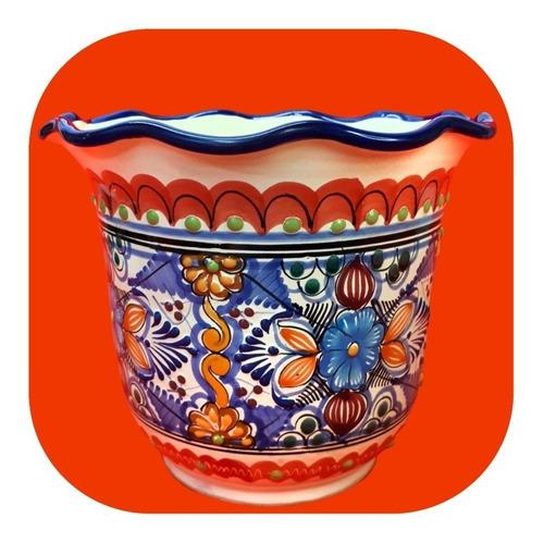 Imagen 1 de 2 de Maceta De Talavera Poblana Olanes 24x20 Cm Colores Mtl