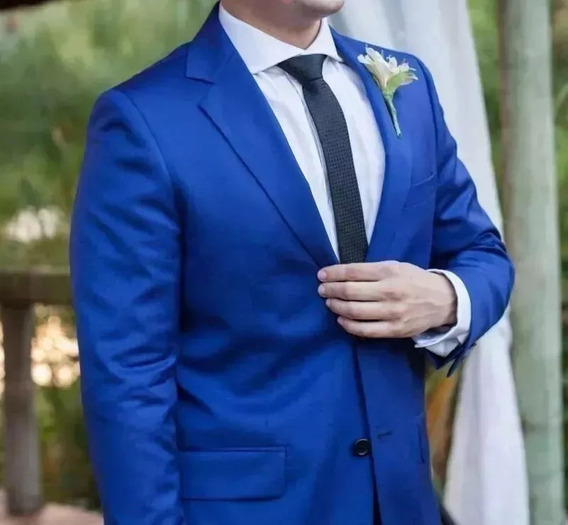 Terno Azul Royal Smoking Slim Italiano Paletó+calça+barato.