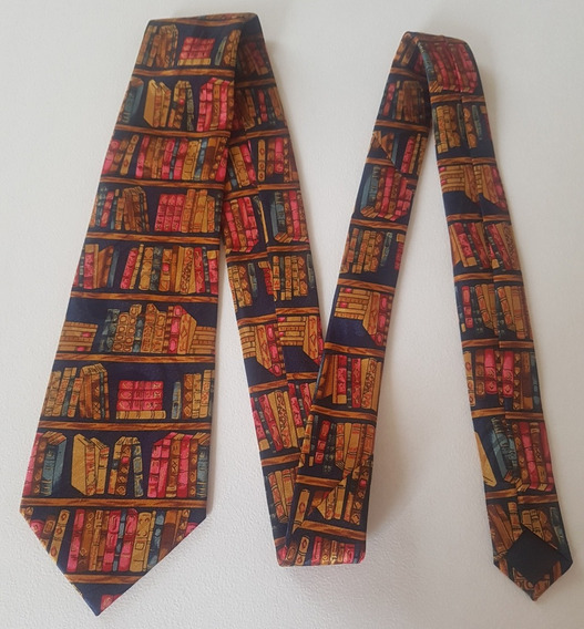 Corbata Color Azul Estampado De Libros De Colores Corb394