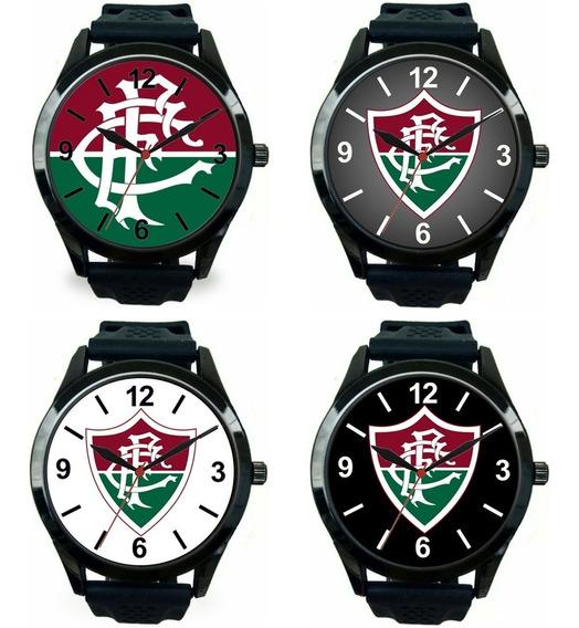 Kit 4 Relógios Pulso Esportivo Fluminense Masculino Barato