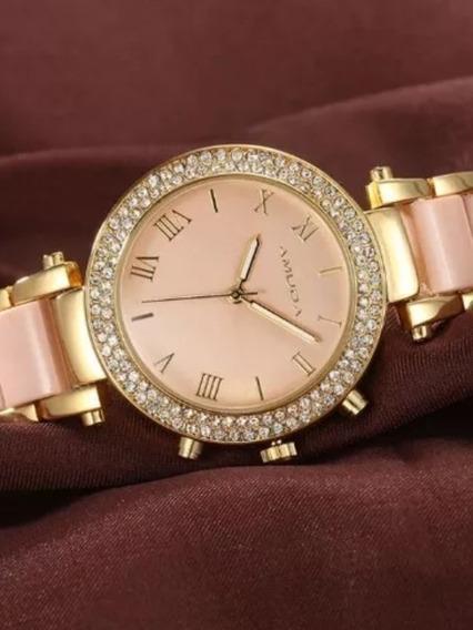 Relógio Original Luxo Feminino Amuda Fashion Dourado Barato
