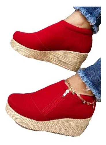 Imagen 1 de 1 de Botin Rojo Bajito En Plataforma Hermosos Zapatos Cerrados