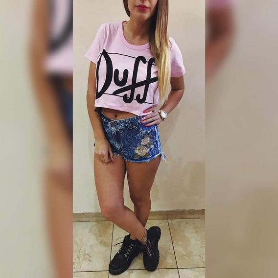 Pupera Duff Remera Corta Jersey Verano Dama Top
