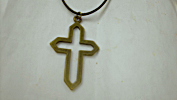 Cordão Regulável Pingente Cruz 5cm Folheado Ouro Velho
