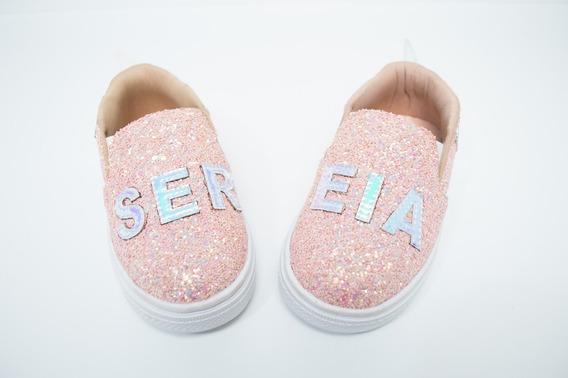 Tênis Slip On Feminino Infantil Sereia Na Cor Coral - Menina