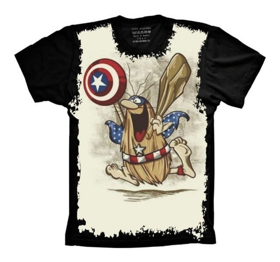 Camisa Fusão Capitão Caverna E América Nerd Preta Masculina
