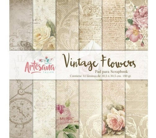 Papeles Para Scrapbook Vintage Flowers