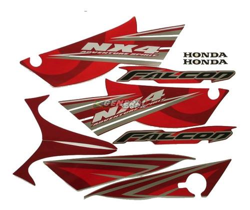 Kit Adesivo Jogo Faixas Moto Honda Falcon 2008 Vermelha