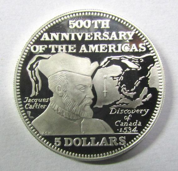 Bahamas 5 Dolares Plata 1991 Años 500 Descubrimiento America