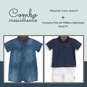 Combo Bebe Menino = Macacão Jeans P + Conjunto (polo+berm) M