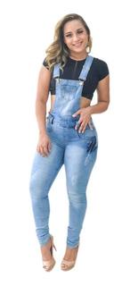 Macacão Macaquinho Calça Jardineira Jeans Lycra S/ Rasgo