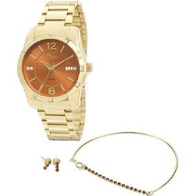 Kit Relógio Condor Co2115st4x Dourado