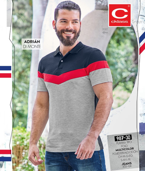 Playera Caballero Tipo Polo Multicolor Mod. 987-30 Ou 2019