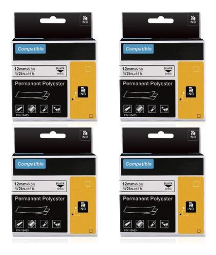 Dymo Rhino Industriales Cintas Vinilo Permanente 1/2 12mm