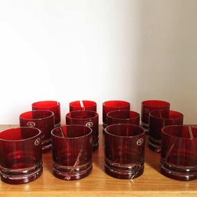 Conjunto 12 Copos Para Whisky Vermelhos Cristal Húngaro Ajka
