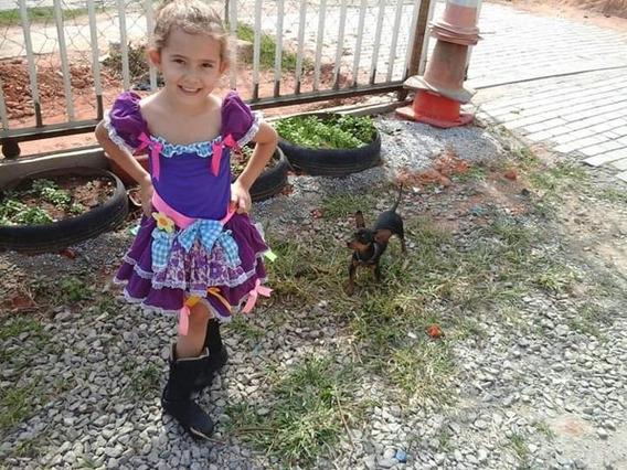 Frete Grátis - Lindo Vestido Roxo De Quadrilha - 5 A 7 Anos