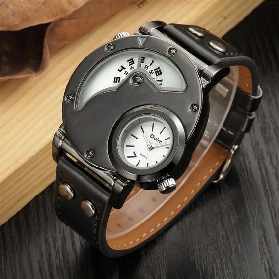Relógio Masculino Esporte Pulseira Couro Original Oulm Preto