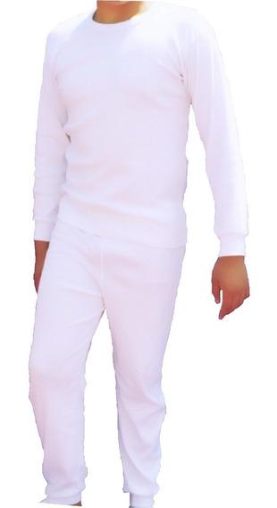 Conjunto Térmico Adulto Waffle Blanco 2pz Unisex Camis/pant