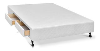 Cama Box Base Castor C/ Gavetas Tecido Branco 4 Gav King - 1