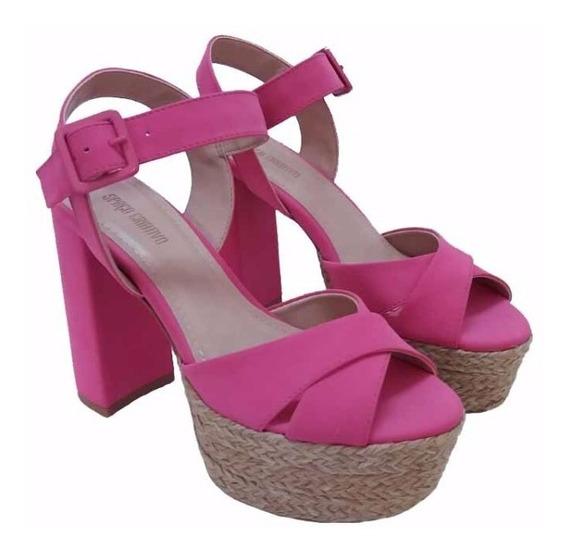 Sandália Nobuck Pink Salto Bloco 100486 | Korus Calçados