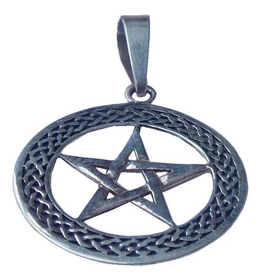 A T A C A D O ... 3 Unidades Frete Grátis !!! - Pingente Wiccan Pentagrama Elegance - Prata 925 - 3,8 Gramas Cada Peça