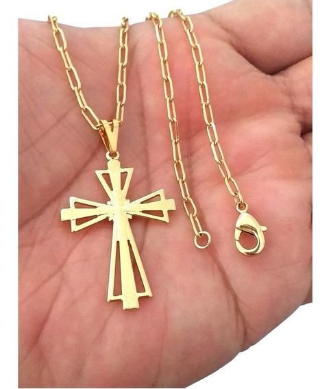 Cordão Masculino 70cm 3mm E Pingente Crucifixo Folheado Ouro