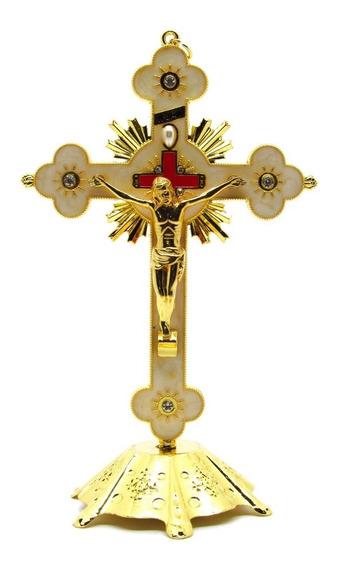 Crucifixo Metal Resina E Strass 17 Cm - Com Base Removível