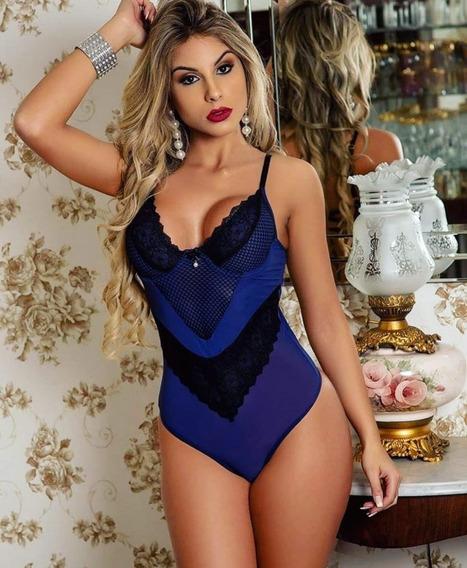 Body Sensual Sem Bojo Em Tule E Renda Azul