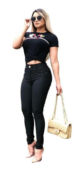 Calça Jeans Feminina Cintura Alta Hot Pants C/ Lycra Premium